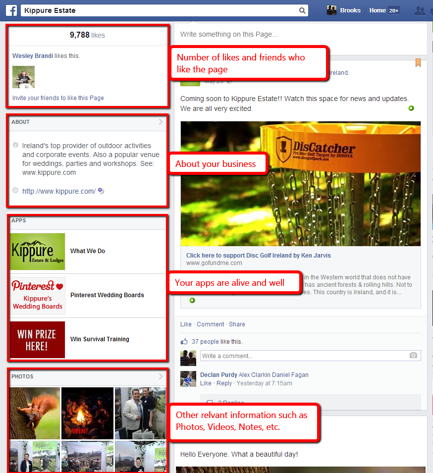 Facebook's new page layout 6